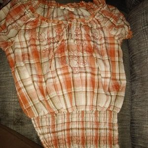 Orange flannel blouse